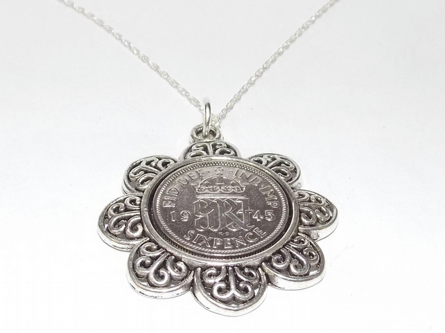 Floral Pendant 1945 Lucky sixpence 74th Birthday plus a Sterling Silver 18in Cha