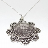 Floral Pendant 1945 Lucky sixpence 75th Birthday plus a Sterling Silver 18in Cha