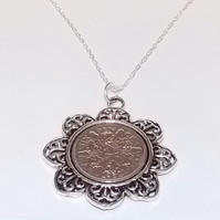 Floral Pendant 1934 Lucky sixpence 85th Birthday plus a Sterling Silver 18in cha