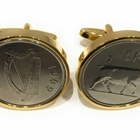 1969 50th Birthday Anniversary Old Large Irish 5p coin cufflinks , 1969 50th bir