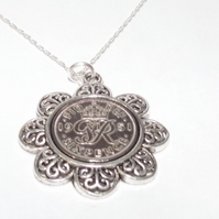 Floral Pendant 1951 Lucky sixpence 68th Birthday plus a Sterling Silver 18in Cha