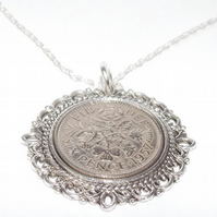 Lucky sixpence 62nd Birthday plus a Sterling Silver 18in Chain 62nd Fancy Pendan