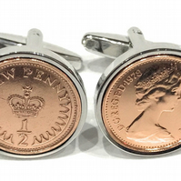 40th Birthday 1980 Birthday Old Half Pence Coin Cufflinks, 1980 40th birthday,40
