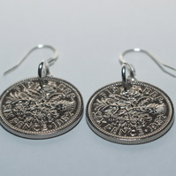 1957 63rd birthday lucky sixpence earrings, 63rd birthday gift, gift idea, gift