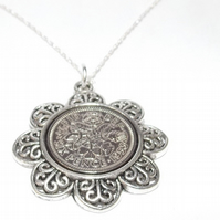 Floral Pendant 1953 Lucky sixpence 66th Birthday plus a Sterling Silver 18in Cha