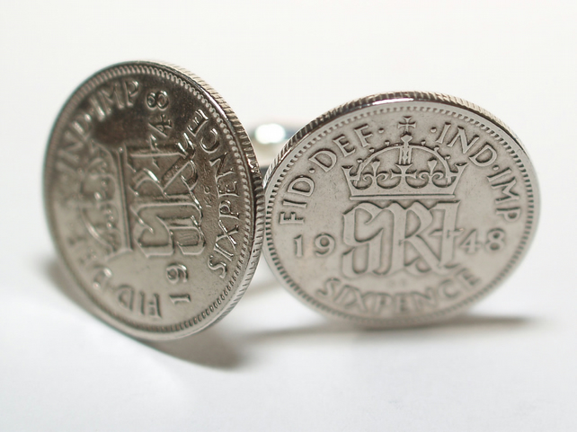 1948 Sixpence Cufflinks 71st birthday. Original sixpence coins Great gift from 1