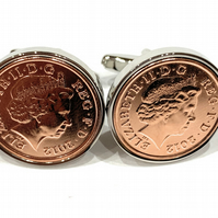 "7th ""Copper wedding"" anniversary cufflinks - ""Copper"" 1p coins from 2012"