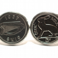 1967 Irish coin cufflinks- Great gift idea. Genuine Irish 3d threepence coin cuf