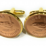 Luxury 1955 Farthing Cufflinks for a 64th birthday. Original british Farthings,