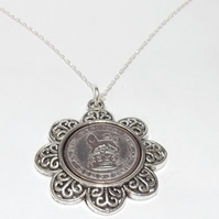 Floral Pendant 1925 Lucky sixpence 94th Birthday plus a Sterling Silver 18in Cha