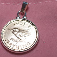 1953 66th Birthday Anniversary Farthing coin in a Silver Plated Pendant mount 66