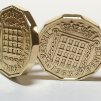 1953 Threepence 3d 66th birthday Cufflinks - Original 1953 threepence coin cuffl