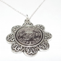 Floral Pendant 1950 Lucky sixpence 69th Birthday plus a Sterling Silver 18in Cha