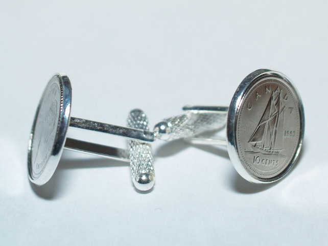 44th Birthday 1975 Canadian dime coin cufflinks- Great gift idea. Genuine Canadi
