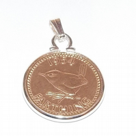 1955 65th Birthday Anniversary Farthing coin in a Silver Plated Pendant mount pl