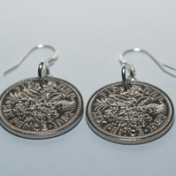 1967 54th birthday lucky sixpence earrings, 54th birthday gift, gift idea, gift