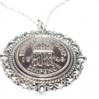 Fancy Pendant 1948 Lucky sixpence 72nd Birthday plus a Sterling Silver 18in Chai