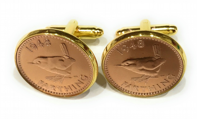 74th Birthday 1946 Gift Farthing Coin Cufflinks, Gold Plated Cufflink Backs