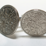 1964 Sixpence Cufflinks 54th birthday. Original sixpence coins Great gift from 1