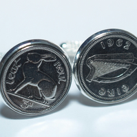1934 Irish coin cufflinks- Great coin gift idea. Genuine Irish 3d threepence coi