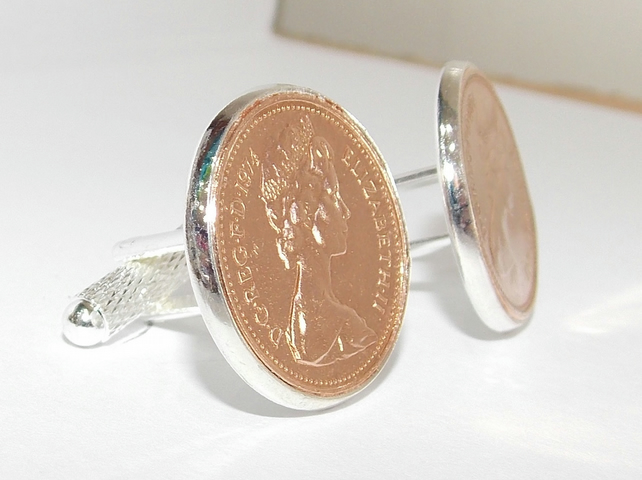 1976 44th Birthday Anniversary 1 pence coin cufflinks - One pence cufflinks from