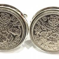 Luxury 1958 Sixpence Cufflinks for a 61st birthday. Original british sixpences i