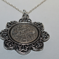 Floral Pendant 1963 Lucky sixpence 56th Birthday plus a Sterling Silver 18in Cha