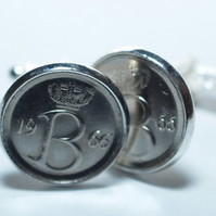 47th Birthday Belgie 25 centimes Coin Cufflinks mounted in Silver Plated Cufflin