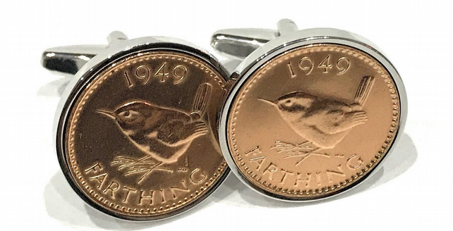 65th Birthday 1954 Farthing Coin Cufflinks - Two tone design 65th birthday