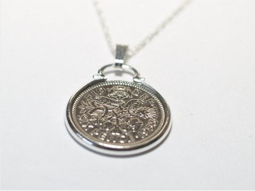 1959 60th Birthday Anniversary sixpence coin pendant plus 22inch SS chain, 60th