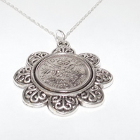 Floral Pendant 1961 Lucky sixpence 58th Birthday plus a Sterling Silver 18in Cha