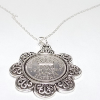Floral Pendant 1940 Lucky sixpence 79th Birthday plus a Sterling Silver 18in Cha