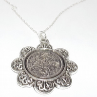 Floral Pendant 1962 Lucky sixpence 57th Birthday plus a Sterling Silver 18in Cha