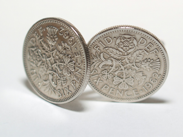 1962 Sixpence Cufflinks 57th birthday. Original sixpence coins Great gift from 1