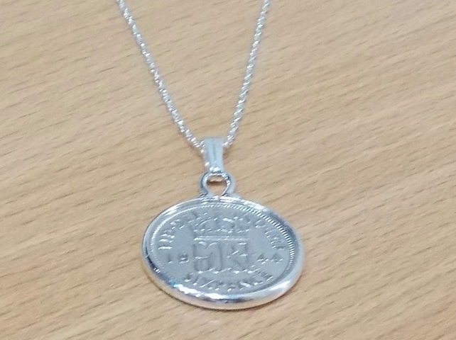 1943 76th Birthday Anniversary sixpence coin pendant plus 18inch SS chain gift