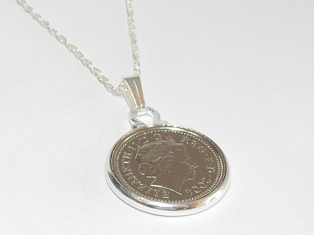 20th Birthday 5p coin Pendant - 1998 Pendant