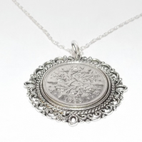 Fancy Pendant 1935 Lucky sixpence 84th Birthday plus a Sterling Silver 18in Chai