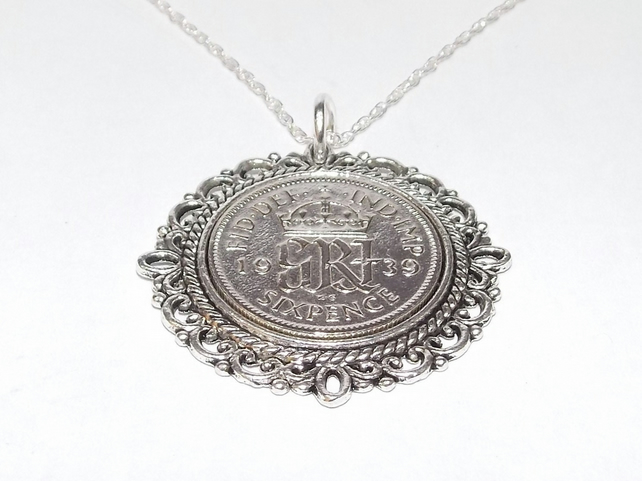 Fancy Pendant 1939 Lucky sixpence 80th Birthday plus a Sterling Silver 18in Chai
