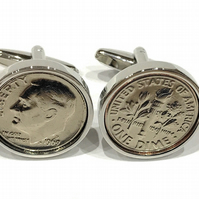 1990 American Dime coin cufflinks, 30th birthday gift, 1990 birthday gift, Gift