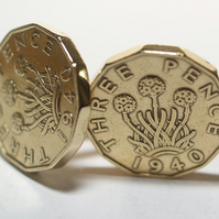 1940 Threepence 3d 79th birthday Cufflinks - Original 1940 threepence coin cuffl