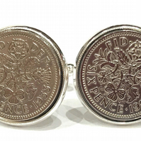 Luxury 1953 Sixpence Cufflinks for a 66th birthday. Original british sixpences i