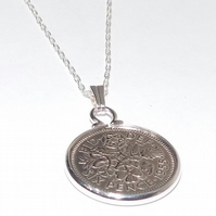 1955 65th Birthday Anniversary sixpence coin pendant plus 18inch SS chain gift,