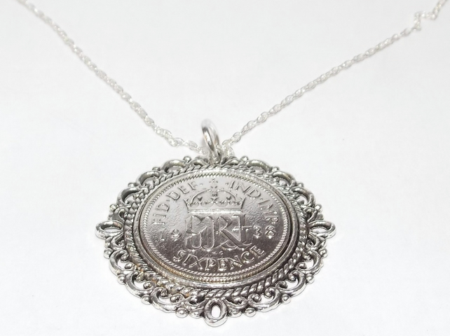 Fancy Pendant 1939 Lucky sixpence 80th Birthday plus a Sterling Silver 24in Chai