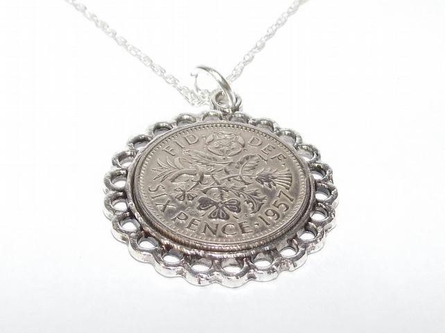 Fine Pendant 1957 Lucky sixpence 62nd Birthday plus a Sterling Silver 18in Chain
