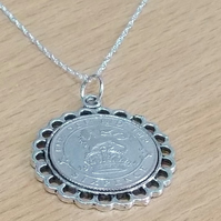 Fine Pendant 1927 Lucky sixpence 93rd Birthday plus a Sterling Silver 18in Chain