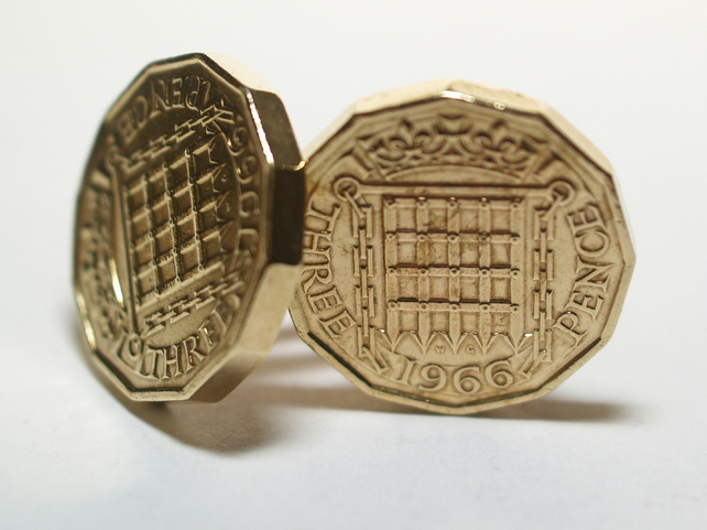 1966 Threepence 3d 53rd birthday Cufflinks - Original 1966 threepence coin cuffl