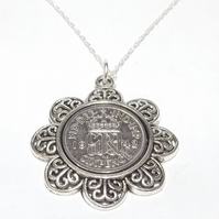 Floral Pendant 1942 Lucky sixpence 77th Birthday plus a Sterling Silver 18in Cha