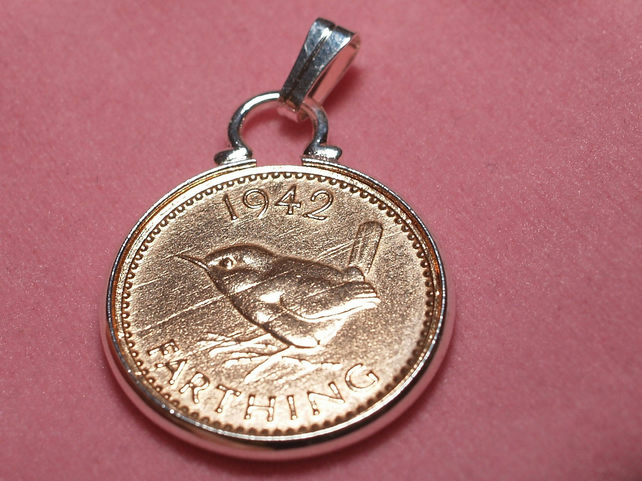 1942 77th Birthday Anniversary Farthing coin in a Silver Plated Pendant mount 75