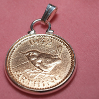 1942 78th Birthday Anniversary Farthing coin in a Silver Plated Pendant mount