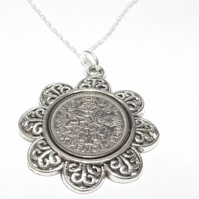 Floral Pendant 1960 Lucky sixpence 59th Birthday plus a Sterling Silver 18in Cha
